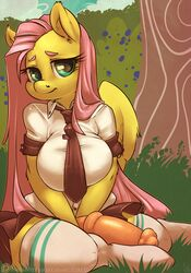 2014 animal_genitalia animal_penis anthro anthrofied atryl big_breasts breasts clothed clothing dickgirl digital_media_(artwork) edit equine equine_penis erection feathered_wings feathers fluttershy_(mlp) friendship_is_magic fur hair intersex legwear looking_at_viewer mammal my_little_pony pegasus penis pink_hair school_uniform smile socks solo student teal_eyes thick_thighs uniform voluptuous wide_hips wings yellow_feathers yellow_fur