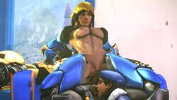 2girls 3d ana_amari anal anal_sex animated blueberg breasts dark_skin doomfist female male mother_and_daughter nipples no_sound overwatch penis pharah pussy reverse_cowgirl_position sex source_filmmaker tagme threesome webm