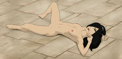 anaxus avatar_the_last_airbender barefoot black_hair breasts female hand_on_head june laying_down looking_at_viewer messy naked nipples outdoors posing pussy smiling solo tagme tiles