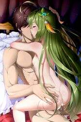 abs ahoge armpits ass ass_grab back bed bed_sheet blush breasts closed_eyes cowgirl_position cum cum_in_pussy curtains dimples_of_venus earrings feet_out_of_frame female flower_knight_girl frilled_pillow frills gem glint green_hair hair_over_eyes hand_on_another's_head highres hug jewelry leaf_lsd light_particles long_hair mint_(flower_knight_girl) muscle nipples nude on_bed overflow parted_lips pillow scar sex shiny shiny_hair shiny_skin sketch small_breasts solo spread_legs straight straight_hair sweat thighs uncensored very_long_hair