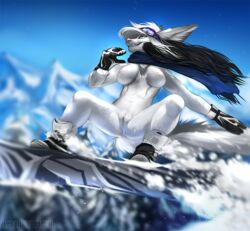 2018 angiewolf anthro anus blue_eyes breasts canine clitoris clothing day detailed_background digital_media_(artwork) eyewear female footwear fur goggles green_eyes hair mammal mountain navel nipples nude outside pink_nose pussy scarf shoes shows sky smile snow snowboard solo suspended_in_midair white_fur white_hair