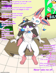 2017 absurd_res animate_inanimate anthro balls black_fur blue_eyes bodysuit brainwashing clothed clothing dialogue digital_drawing_(artwork) digital_media_(artwork) duo eeveelution english_text erection feline feline foreskin fur furry_character_wearing_fursuit fursuit girly hedgehog hi_res hypnosis immelmann male male/male mammal mind_control multicolored_fur nintendo open_mouth penis pink_nose pokémon_(species) pokemon poster rubber silver_the_hedgehog sitting skinsuit sonic_(series) spiral spiral_eyes sylveon text tight_clothing two_tone_fur video_games white_fur