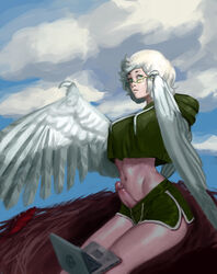 aqua_eyes breasts bulge claws cloud computer feathered_wings feathers female futanari glasses harpy highres hood hoodie laptop midriff monster_girl navel nest original penis rhydwyn sitting sky solo white_feathers white_hair winged_arms wings