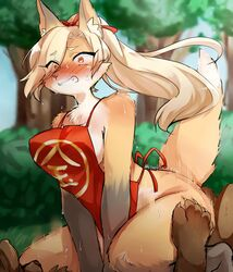 ambiguous_gender anthro apron bear blonde_hair blush breasts brown_fur canine claws clenched_teeth clothed clothing dipstick_ears dipstick_tail embarrassed eyebrows eyelashes female fox fox's_sister_(kinokoningen) fur gloves_(marking) hair hair_over_eye hi_res hip_grab implied_penetration interspecies kemono kinokoningen mammal markings mostly_nude motion_lines multicolored_tail naked_apron orange_eyes orange_fur raised_tail ribbons skimpy solo_focus sweat teeth white_fur
