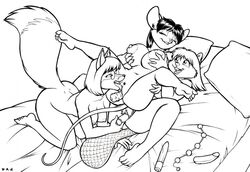 2018 anal_beads anthro anthro_on_anthro beaver beverly_(sailoranna) biting_lip breast_grab breasts buckteeth canine closed_eyes cunnilingus david_a_cantero dildo dipstick_tail eyewear faith_(daq) female female/female fox glasses grabbing_from_behind group group_sex hand_on_breast high-angle_view inner_ear_fluff interspecies kneeling legs_up lying mammal monochrome mouse multicolored_tail navel nipples on_back open_mouth open_smile oral penetration pillow pubes pussy rodent sex sex_toy simple_background sketch smile spread_legs spreading teeth threesome tina_(sailoranna) toying_partner vaginal_penetration yuri
