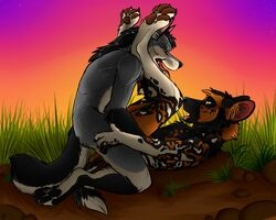 2016 5_fingers anal anal_sex anthro anthro_on_anthro anvil_position black_fur black_hair black_leash_dog canine chest_tuft claws detailed_background digital_media_(artwork) dirt fluffy fluffy_tail fur grass grey_fur hair hand_on_leg hi_res hyena legs_up looking_at_partner lying male male/male mammal on_back open_mouth outside patrikthedog penetration sex tan_fur tongue tongue_out tuft wolf