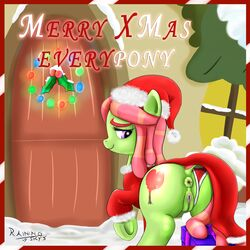 2015 anus ass christmas clothed clothing cutie_mark digital_media_(artwork) dock door earth_pony english_text equine female feral friendship_is_magic gift hair hat hi_res holidays hooves horse long_hair mammal multicolored_hair my_little_pony panties pony pussy rainingskys santa_hat smile snow solo text tree_hugger_(mlp) two_tone_hair underhoof underwear
