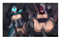 2girls anal anal_sex anal_sex areolae arm_grab ashe big_breasts bodysuit bottomless bound breasts breasts_outside double_penetration katarina large_breasts league_of_legends leg_grab nipples project_ashe project_katarina pussy_juice restrained spread_legs spreading tentacle tentacle_rape tentacle_sex topless torn_bodysuit torn_clothes vaginal_penetration vaginal_penetration vaginal_sex white_hair