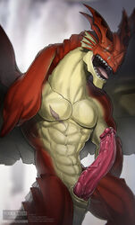 abs anthro biceps dragon erection igneel invalid_tag male muscular open_mouth pecs penis precum scalie scar sharp_teeth solo teeth tired todex tongue western_dragon wings yawn