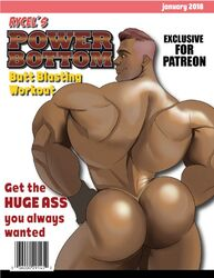 1boy absolutbleu ass ass_grab behind big_breast big_breasts big_butt big_penis gay gym human male male_only muscle original_character solo spot tagme wet workout