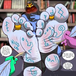 2016 5_toes abriika big_feet black_nails blue_skin blush book breasts clothing colored_nails dialogue dirty_talk english_text feathers feet female foot_fetish foot_focus group hi_res humanoid humanoid_feet laugh legwear library loose_feather not_furry plantigrade quill ring socks soles speech_bubble stirrup_socks teasing text tickling toe_ring toes wrinkles zp92