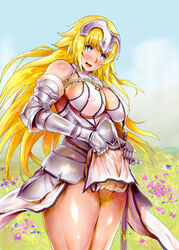 1girl armor bare_shoulders big_breasts blonde_hair blue_eyes blush busty chains cleavage curvy detailed_background erect_nipple erect_nipples eyelashes fate/apocrypha fate/grand_order fate_(series) female female_only front_view gauntlet hairy_pussy headgear holding_object hourglass_figure human jeanne_d'arc jeanne_d'arc_(fate/apocrypha) long_hair looking_down mozu-k nipple_bulge no_panties open_mouth outdoor outside pose posing pubes pubic_hair ruler_(fate/apocrypha) shiny shiny_skin skirt skirt_lif skirt_pull standing sword voluptuous weapon white_skirt wide_hips yellow_hair