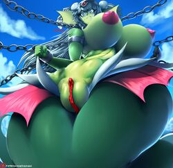 2018 big_breasts breasts chains fat_mons female flashing giga_mermaid humanoid macro marine merfolk nipples pussy restrained shantae:_half-genie_hero shantae_(series) thick_thighs vhsdaii voluptuous wide_hips