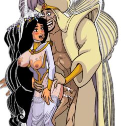 1boy 1girl age_difference ahe_gao akabur aladdin animated blush bouncing_breasts breasts cum cum_inside domination earrings female jafar jasmine male maledom nakadashi old_man princess_trainer sex straight thrusting torn_clothing wedding_dress