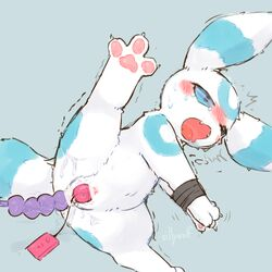 1girl ahe_gao alternate_color ass blue_eyes blue_fur blush bondage bound canine eeveelution female feral furry half-closed_eyes nintendo open_mouth original_character paws pokémon_(species) pokemon pokemon_gsc sex_toy shaking sillywolf solo tail toy trembling umbreon vibrator video_games white_fur