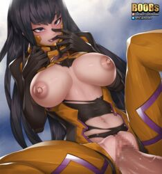 1boy bangs black_bodysuit blush bodysuit breasts breasts_apart breasts_outside brown_hair censored eyebrows_visible_through_hair female finger_in_mouth highres large_breasts licking long_hair looking_at_viewer lying mosaic_censoring multicolored multicolored_bodysuit multicolored_clothes muvluv muvluv_alternative muvluv_total_eclipse navel nephlite nipples on_back open_mouth penis pilot_suit purple_eyes pussy saliva sex shiny shiny_hair shiny_skin skin_tight solo_focus spread_legs straight sweat takamura_yui tongue tongue_out torn_bodysuit torn_clothes vaginal_penetration watermark web_address yellow_bodysuit