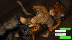 anthro blue_eyes briefs brown_fur brown_hair bulge chizi clothed clothing clothing_lift feline fur hair jeans lying male mammal on_back orange_fur pants penis_outline phone shirt shirt_lift solo tan_fur teenager tiger underwear young