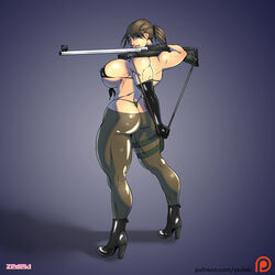 ass big_breasts boots elbow_gloves gloves metal_gear_solid muscular muscular_female quiet_(metal_gear) rifle side_boob thick_thighs zedeki