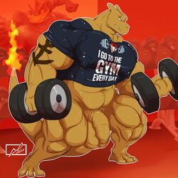 2017 3_toes 4_fingers abs anthro anthrofied balls barefoot biceps big_balls big_muscles big_penis biped blue_eyes bottomless brown_horn brown_scales brown_tail charizard charkonian_graotl_ard clenched_teeth clothed clothing danandnite detailed_background digital_media_(artwork) dragon dumbbell exercise eye_scar facial_scar fan_character flaccid flaming_tail foreskin front_view full-length_portrait gym holding_object horn humanoid_penis inside jewelry long_tail male muscular muscular_male navel necklace nintendo nipple_bulge nipples pecs pendant penis pink_nipples pokémon_(species) pokémorph pokemon portrait quads scales scalie scar signature snout solo standing tattoo teeth thick_tail toes uncircumcised uncut video_games weightlifting weights workout