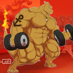 2017 3_toes 4_fingers abs anthro anthrofied balls barefoot biceps big_muscles biped blue_eyes brown_horn brown_scales brown_tail charizard charkonian_graotl_ard clenched_teeth clothed clothing danandnite detailed_background digital_media_(artwork) dragon dumbbell exercise eye_scar facial_scar fan_character flaccid flaming_tail foreskin front_view full-length_portrait gym holding_object horn humanoid_penis inside jewelry long_tail male muscular muscular_male navel necklace nintendo nipples nude pecs pendant penis pink_nipples pokémon_(species) pokémorph pokemon portrait quads scales scalie scar signature snout solo standing tattoo teeth thick_tail toes topless uncircumcised uncut video_games weightlifting weights workout