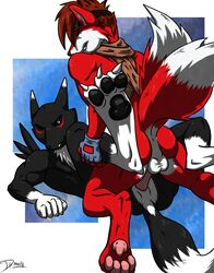 anthro backless_gloves canine digimon eyewear fingerless_gloves fox fur furry gloves goggles iudicium86 male mammal maxamilion_the_fox renamon scarf