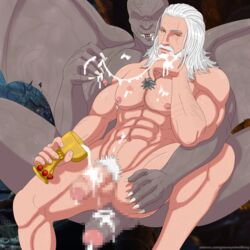 censored cum dettlaff duo fangs geralt_(the_witcher) geralt_of_rivia greeneyedwolfking half-erect human human_on_humanoid humanoid male mammal monster not_furry nude penis pixelated the_witcher vampire wings yaoi