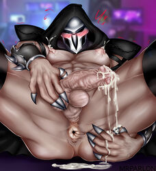 after_sex blush cum flaccid leaking male_focus male_only mask overwatch presentibg presenting_anus reaper
