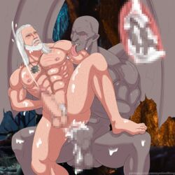 anal anal_sex balls censored dettlaff duo erection fangs geralt_(the_witcher) geralt_of_rivia greeneyedwolfking human human_on_humanoid humanoid male mammal monster not_furry nude penetration penis pixelated the_witcher vampire wings yaoi