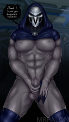 english_text male male_only mask overwatch partially_clothed penile_masturbation reaper simple_background solo solo_male