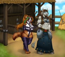 abs anthro ball_gag bear big_breasts blinders blithedragon bondage bondage bound bovine braided_hair breasts bridle brown_fur brown_hair cleavage clothed clothing eyewear female fur gag green_eyes hair harness leather legwear long_hair mammal midriff multicolored_hair muscular muscular_female nipples nude open_mouth outside panda pandaren petplay ponytail reins ringed_tail roleplay shackles slightly_chubby smile stable stockings tail_tuft tauren tuft video_games walking warcraft wide_hips