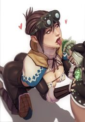 ass breasts brown_eyes brown_hair capcom cleavage female goggles john_doe male monster_hunter monster_hunter_world open_mouth straight the_handler tongue tongue_out