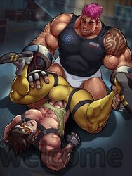 2boys abs bara bulge clothes luxuris muscular nipples outfit overwatch pants pecs size_difference tracer yaoi zarya