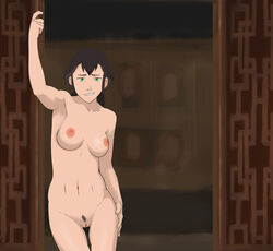 anaxus arm_up avatar_the_last_airbender breasts brown_hair female green_eyes hand_on_hip long_hair looking_at_viewer medium_breasts nipples pema pubic_hair pussy room smiling solo standing the_legend_of_korra