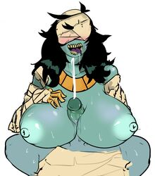 areola bandage big_breasts black_hair blue_nipples blue_penis blue_skin breasts cum cumshot drooling duo egyptian ejaculation faceless_male female female_focus glans hair honeyboyy huge_breasts humanoid humanoid_penis jewelry male male/female mummy necklace nipples not_furry orgasm penis purple_tongue retracted_foreskin saliva sex simple_background solo_focus sweat titjob tongue tongue_out uncut undead white_background