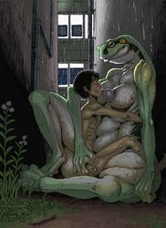 1boy 1girl age_difference alley amphibian anthro areola ass ass_grab big_feet big_mouth big_nipples blush breast_suck breasts brown_hair centipede closed_eyes digitigrade double_deck duo feet female frog grass green_skin hair hand_on_ass horizontal_pupils hug huge_ass human human_on_anthro implied_sex insect interspecies larger_female looking_down male mammal mature_female nipples non-mammal_breasts nude older_female outdoors outside puffy_nipples rain raining ribs short_hair sign sitting size_difference slightly_chubby smaller_male smile spread_legs straight sucking teenager text thick_thighs voluptuous webbed_feet webbed_hands wet wide_hips yellow_eyes young younger_male