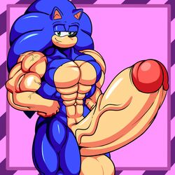2018 abs anthro balls bedroom_eyes biceps big_balls big_muscles big_penis blue_fur dreamcastzx1 erection fur green_eyes half-closed_eyes hedgehog huge_balls huge_cock huge_muscles hyper hyper_balls hyper_muscles hyper_penis long_penis looking_at_viewer male mammal manly muscular muscular_male pecs penis quads seductive solo sonic_(series) sonic_the_hedgehog thick_penis vein veiny_penis