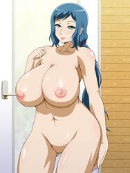aqua_eyes areolae bathroom blue_eyes blue_hair blush breasts closed_mouth collarbone cowboy_shot door female groin gundam gundam_build_fighters highres huge_breasts indoors iori_rinko legs light_smile long_hair looking_at_viewer milf mound_of_venus navel nipples nude pussy shaved_pussy shaved_pussy shiny shiny_skin smile solo standing thighs uncensored vermilion