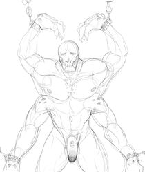 booou bound chains flaccid male male_only monochrome monster muscles penis sketch teratophilia vanajit