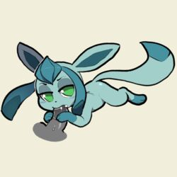 2018 3_fingers 3_toes bedroom_eyes blush disembodied_penis duo eeveelution fellatio female feral glaceon green_eyes half-closed_eyes highres itsunknownanon looking_at_viewer lying male nintendo on_front oral oral_penetration paws penetration penis pokémon_(species) pokemon seductive sex straight toes video_games