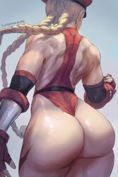 ass bare_shoulders blonde_hair blue_background braid cammy_white cutesexyrobutts female female_only from_behind gauntlets gradient gradient_background hat highres leotard long_hair military_hat muscles muscular muscular_female signature sketch solo street_fighter thick_thighs thighs thong_leotard twin_braids white_background