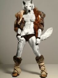 2007 5_fingers animal_genitalia anthro biped black_bottomwear black_clothing black_nose black_underwear boots briefs canine clothed clothing edit fluffy fluffy_tail footwear front_view full-length_portrait fully_sheathed fur fur_coat grey_background looking_at_viewer male mammal photo_manipulation photomorph portrait red_eyes sheath simple_background snout solo standing tempkitty underwear underwear_pull white_fur white_tail wolf