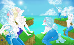 2018 5_fingers 6girls alternate_color anthro areolae armpits arms_up back big_ass blonde_hair blue_eyes blue_fur blue_hair breasts cloud day eyelashes eyeshadow feet female food fruit grass hair hamili lips lipstick long_hair long_nails looking_at_viewer looking_back makeup mammal marine nail_polish nintendo nipples nude ocean open_mouth outdoors pink_nipples pink_nose pinniped pokémon_(species) pokemon pokemon_sm pokemorph ponytail primarina pussy rock sea shiny_pokemon sideboob sitting sky smile standing starfish stone stretching sun sunlight thick_thighs video_games water white_fur white_skin wide_hips
