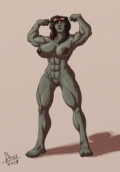 2018 5_fingers 5_toes abs black_hair blue_eyes boo3 breasts eyewear female flexing goggles green_skin hair looking_at_viewer multicolored_hair muscular muscular_female nipples not_furry nyunawyb pussy roegadyn scar simple_background solo standing toes two_tone_hair