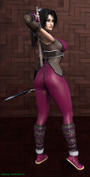 3d asian ass black_hair breasts butt_crack curvy female female hand_on_back hips holding_weapon huge_ass katana kunoichi large_breasts long_hair ninja ponytail sandals sideboob soul_calibur soulcalibur_iv sword taki_(soulcalibur) the_majestic thick_thighs thighs wide_hips