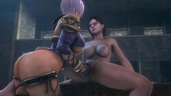 2girls 3d animated areolae breasts cleavage female female_only fingering isabella_valentine jill_valentine nipples noname55 nude pussy resident_evil soul_calibur sound source_filmmaker spread_legs webm yuri