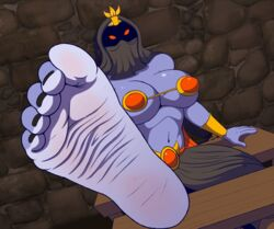 2018 5_toes abriika animated big_breasts big_feet black_nails blue_skin breasts clothing colored_nails feet female foot_focus hi_res humanoid humanoid_feet plantigrade red_eyes ring soles solo toe_ring toes zp92