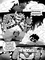 2018 bowser closed_eyes clothing collar comic cum english_text erection facial_hair galgard harness horn human humanoid_penis koopa larger_male lying male male/male mammal mario mario_bros monochrome moustache muscular muscular_male nintendo on_front overweight penis pubes pull_out scalie shell size_difference speech_bubble spiked_armlet spiked_collar spikes standing text thong video_games