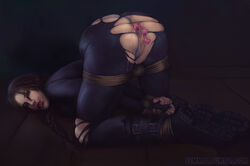 anal_beads anus ass bemmaa bondage female female_only lara_croft looking_at_viewer pussy restrained sex_toy solo tomb_raider tomb_raider_reboot torn_clothes