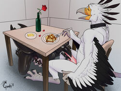 anthro avian collar cum cum_in_mouth cum_inside domination duo eating erection fellatio food foot_fetish footjob gorath kneeling male male/male nude open_mouth oral pancake sex sitting smile talons tongue tongue_out under_the_table