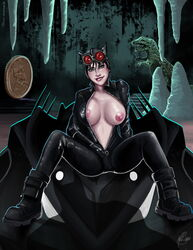 areola batman big_breasts black_hair bodysuit cat_ears catwoman dc facing_viewer female_only goggles green_eyes lip_bite looking_at_viewer mask mavruda nipples pinup presenting smile solo unzipping zipper